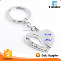 Factory Sale High Qualtiy Silver Crystal Heart Keychain with Your Logo Lasered