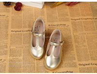 Girls ankle strap wedding shoes dressy shoes kids golden dress shoes