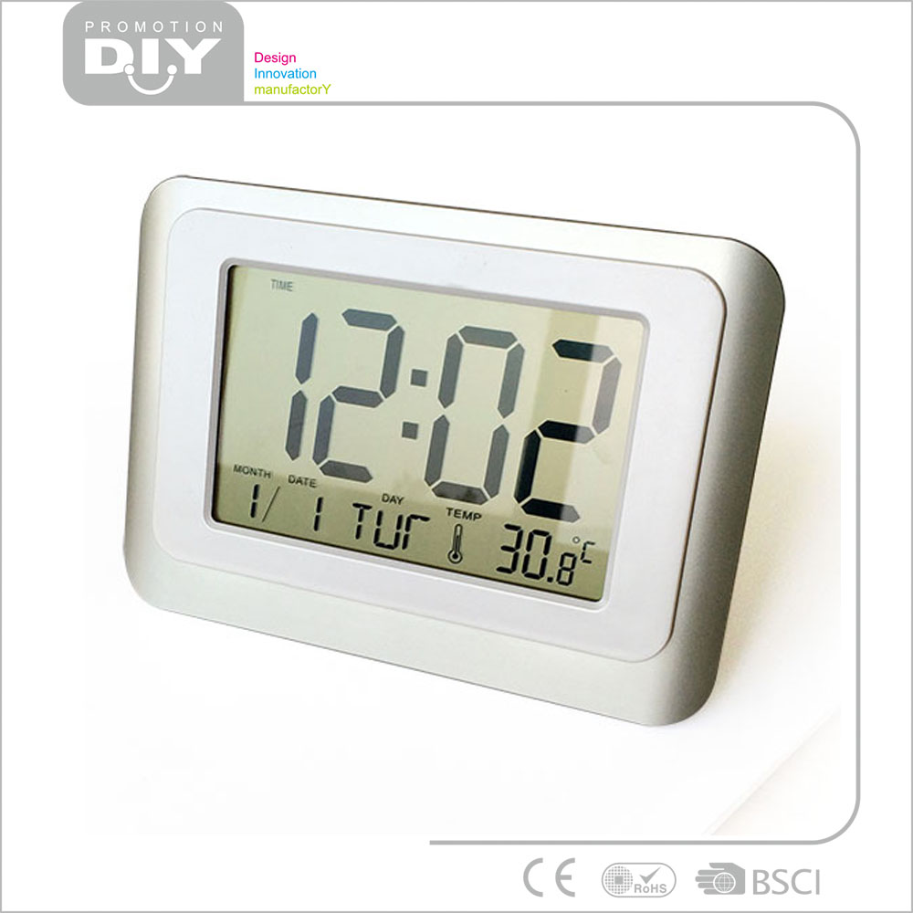 large electric digital wall clock calendar with thermometer