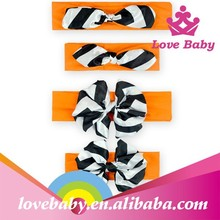 2015 latest boutique orange handle black chevron bowknot baby hippie headbands