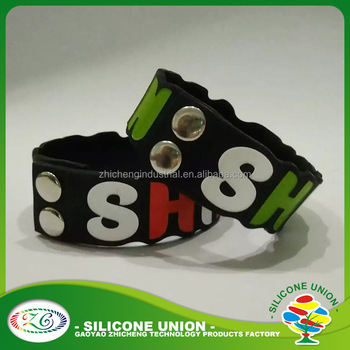 durable silicone wristband, Custom steel snap botton silicone bracelet silicone wristband