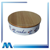 galvanized steel LFGB cake storage bin canister with bamboo lid