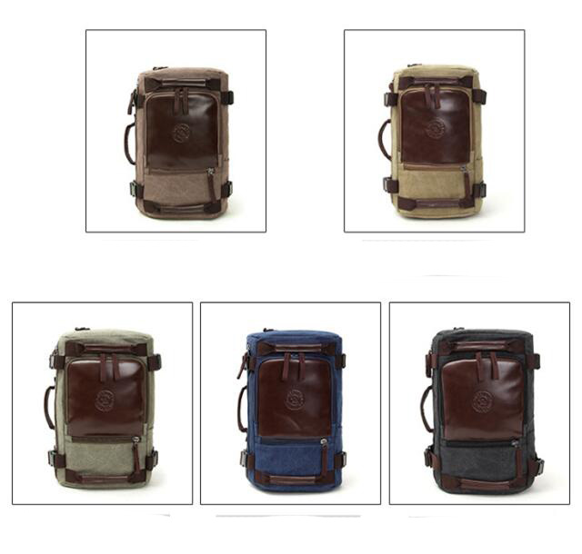China wholesale outdoor backpack mens shoulder leather vintage canvas backpack