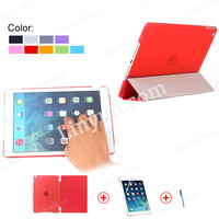 promotion matte PC hard back case + screen protector + pen leather smart cover for iPad air 2