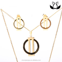 2016 Fashion Stainless Steel Gold Plated Simple Blank Pendant Earring Jewelry Set