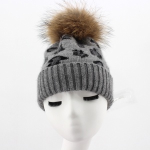 Myfur Black Color Adult Couple Beanie Hat with Real Raccoon Fur Bobble