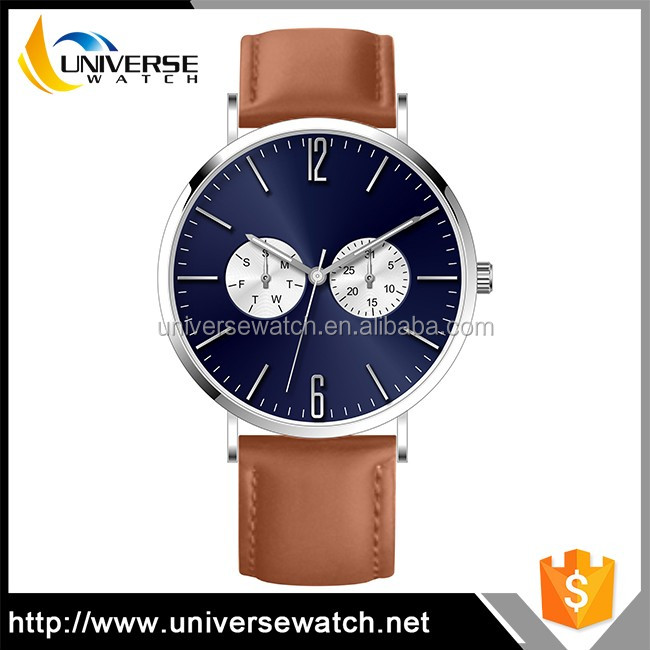 Day/Date Watches Thin Italian Leather Strap Lady Watch with Customer's Brand LOGO