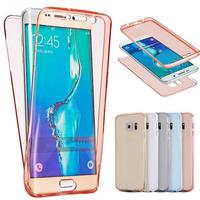 Transparent Smart Touch Screen Full Cover Soft TPU Cases For Galaxy Note 5 S6 S6 Edge S7 S7 Edge