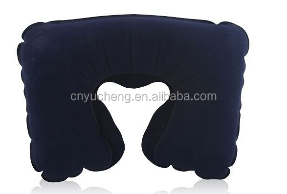 blue inflatable flocked neck pillow neck pillow travel pillow