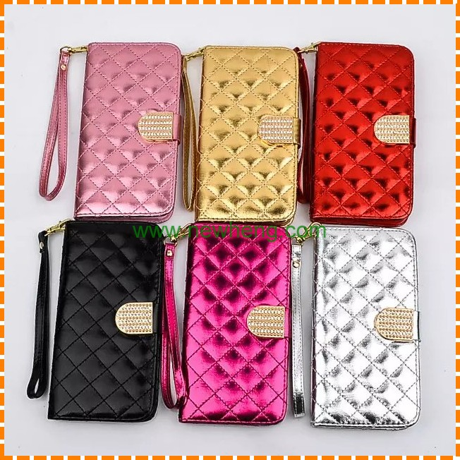 New products Sheepskin Grid texture Diamond buckle Wallet Leather Case for Iphone 7