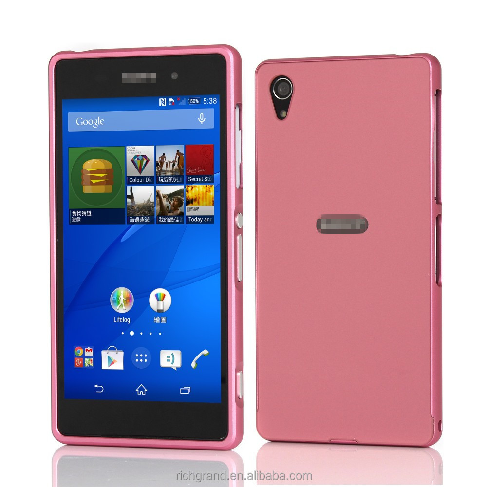 Elegant Metal Aluminum Bumper+ Arylic Back Cover Case for Sony Xperia Z2 L50W