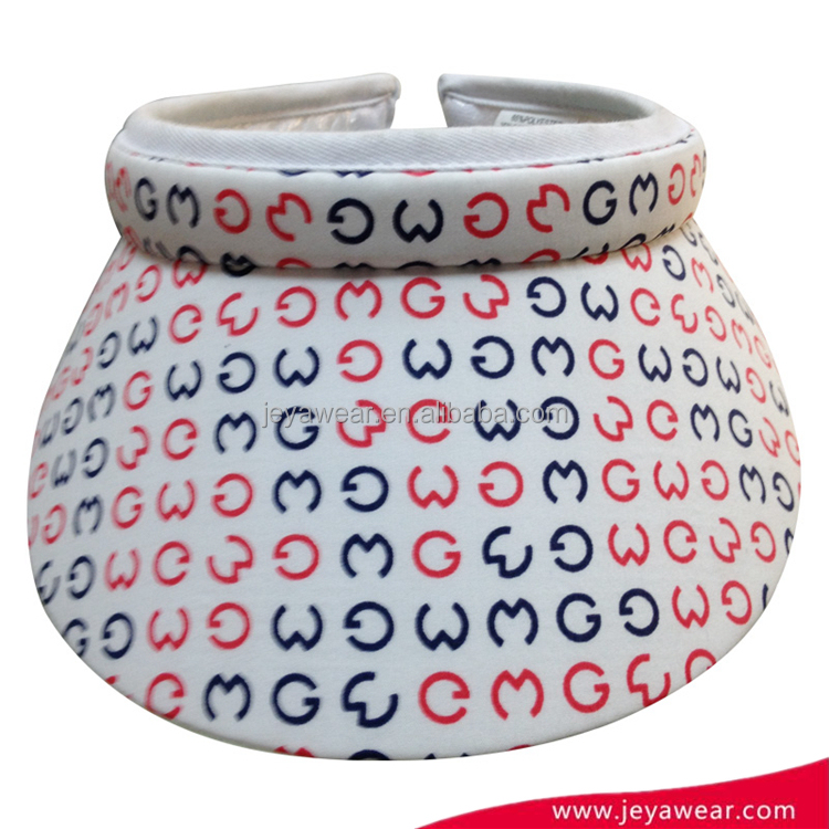 New style white sun visor cap headwear with digital printed pattern and ringent closure
