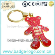 cute design metallic teddy bear keychain