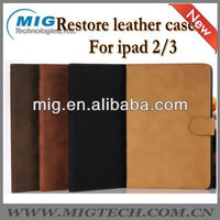 Restore style book leather case for ipad, for ipad case