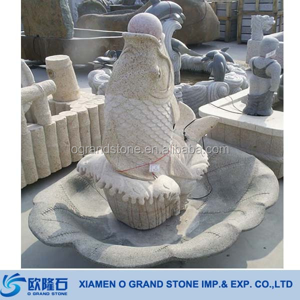 Stone Carving Yellow Fish Garden Stone Water Fountain