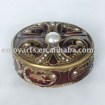 Antique Gold Metal Round Jewelry Box with Rhinestones(P05010k)