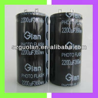 Glan 360V 2200UF High Speed Charge Discharge Cylindrical Aluminum Electrolytic Capacitor Photo Flash Capacitor