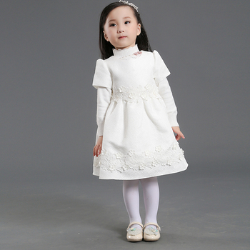 Stock Supply! fashion design flower blue kids girl dress summer kids dresses
