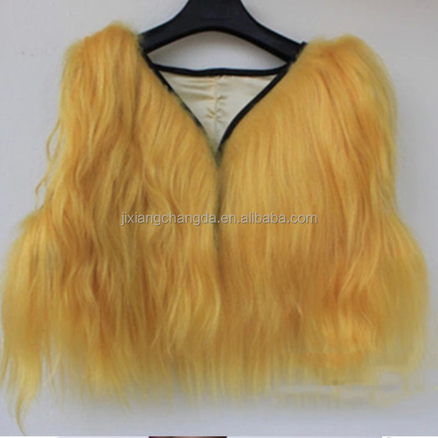 Women long hair goat fur vest mini fur gilet waistcoat wholesale