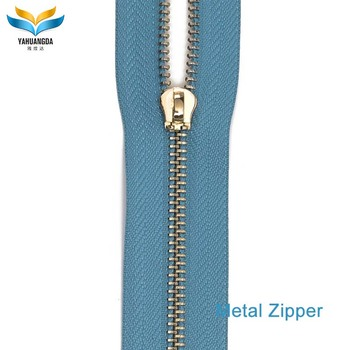 factory price custom high quality closed end copper metal golden bags/jacket/clothing/jeans zipper