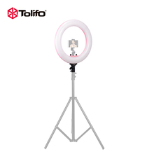 Fstphoto 18 inch Cellphone LED DMX Ring Light Mirror 5600k Ring Lamp with Mobile Holder for Phone and Canon Camera