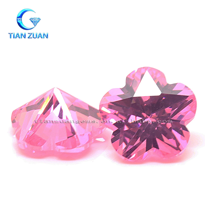 Flower cut pink color cubic zirconia special shape CZ gemstone for decoration