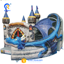 newest fashion design blue dragon inflatable bouncer house slide combo for party