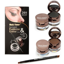 Music Flower High Quality Cream Eyeliner Gel Eyeliner Makeup Brown + Black Gel Eyeliner Brown Eye Liner Kit