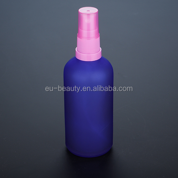 Blue Coating Essential Oil Bottle With Spray Pump