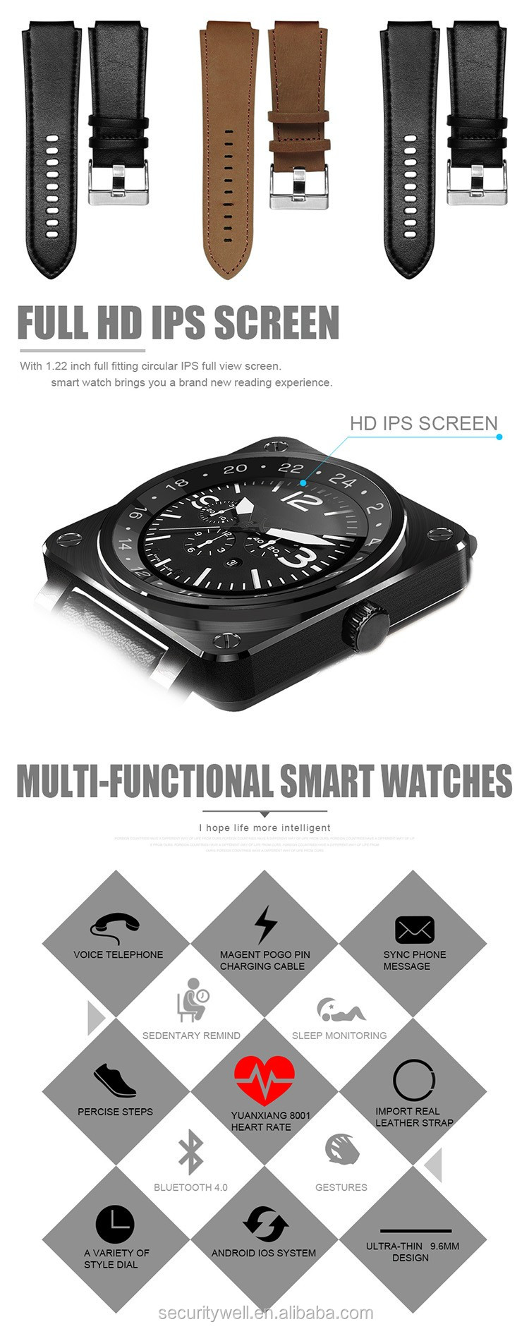 High quality Heart rate monitor iOS CE ROHS Smart watch