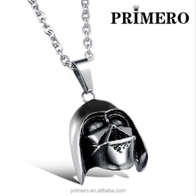 Trendy Titanium Steel Predator's Helmet Pendant Necklaces Fashion Jewelry Male Stainless Steel Gift for Man
