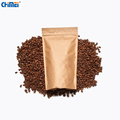 Eco-friendly food grade custom stand up recycle packaging brown kraft paper bags for coffee with zipper