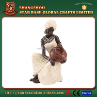 Elegant black woman home decorative crafts custom resin lady figurines