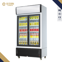 580L Sliding door commercial refrigerator with glass display freezer