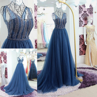 RP50059 Sheer back ruched sweep train v neck and sexy indian prom dresses sleeveless beaded evening dress blue chiffon dress