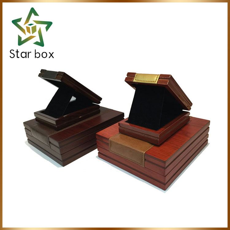 Good quality square pink bling wood jewelry box with acrylic painting wooden jewelry boxes