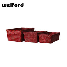 Pomotion red colored wicker basket for craft