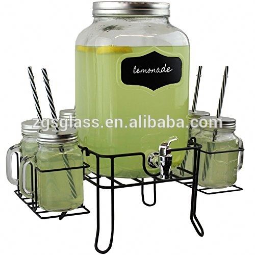 Customized Glass Cold Water Dispenser With Metal Rack