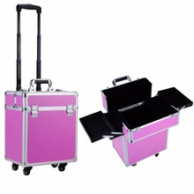 Telescopic Cosmetic Hairdressing Makeup Vanity Case Trolley Beauty Make up Box
