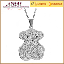 Wholesale kids steel jewelry Shamballa Crystal Bear Pendant charm Necklace Material stainless steel