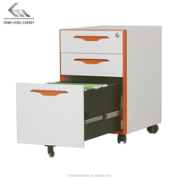 Colorful handle design mobile pedestal steel file cabinets with 3 drawers