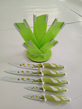new designs colorful kitchen knife set with PP block