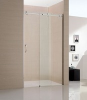 transparent sliding shower glass cabin with wide stainless steel frame european design made in china