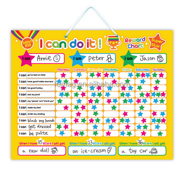 E1002 2014 hot brand new for kids baby and child creative magnetic learning educational star reward boards