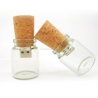 Creative glass jar wish bottle usb flash drive with wood cord for promotion gift with custom logo printing