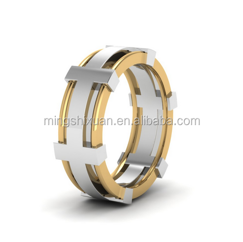 OEM Service - MSX Jewelry Stainless Steel 2 Tone Unique Male Wedding Rings