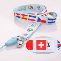 Custom heat transfer printing country flag logo lanyard polyester material