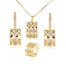 Foxi jewelry 24k gold plated micro pave zirconia jewelry set for gift