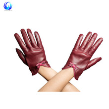 playful retro bow Women's Leather Gloves Bordeaux With Pink Bow warm winter and comfortable ladies drivers