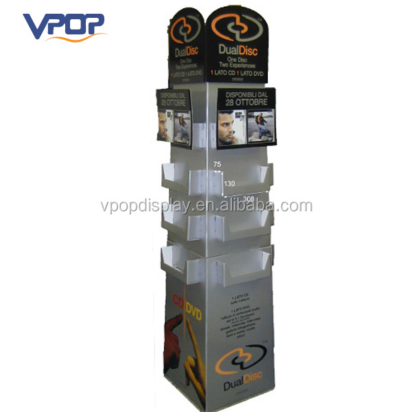 Folding Cosmetic Product Floor Stand 4 Sided Cardboard Display